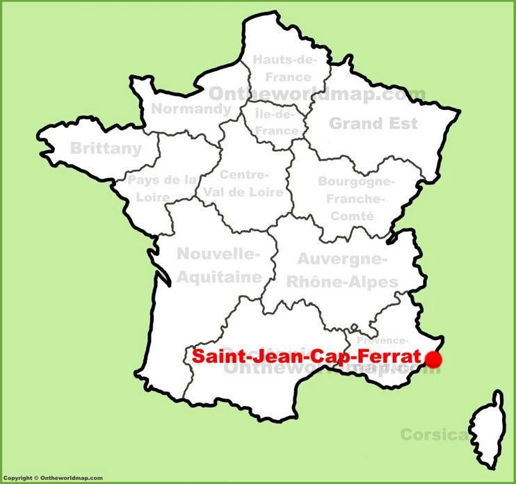 SaintJeanCapFerrat location on the France map Maps Pinterest