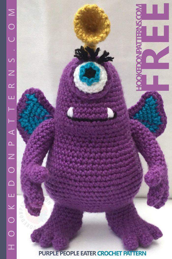 Purple People Eater Free Toy Monster Amigurumi - | Tiere häkeln ...