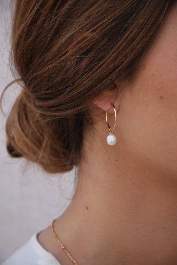 Caumont  Creoles 14k GOLD FILLED  Dangling Gold Earrings    Etsy
