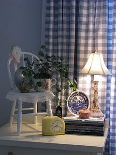 pretty vignette....Bellemere Cottage. love the gingham curtains and the lace on the chair!