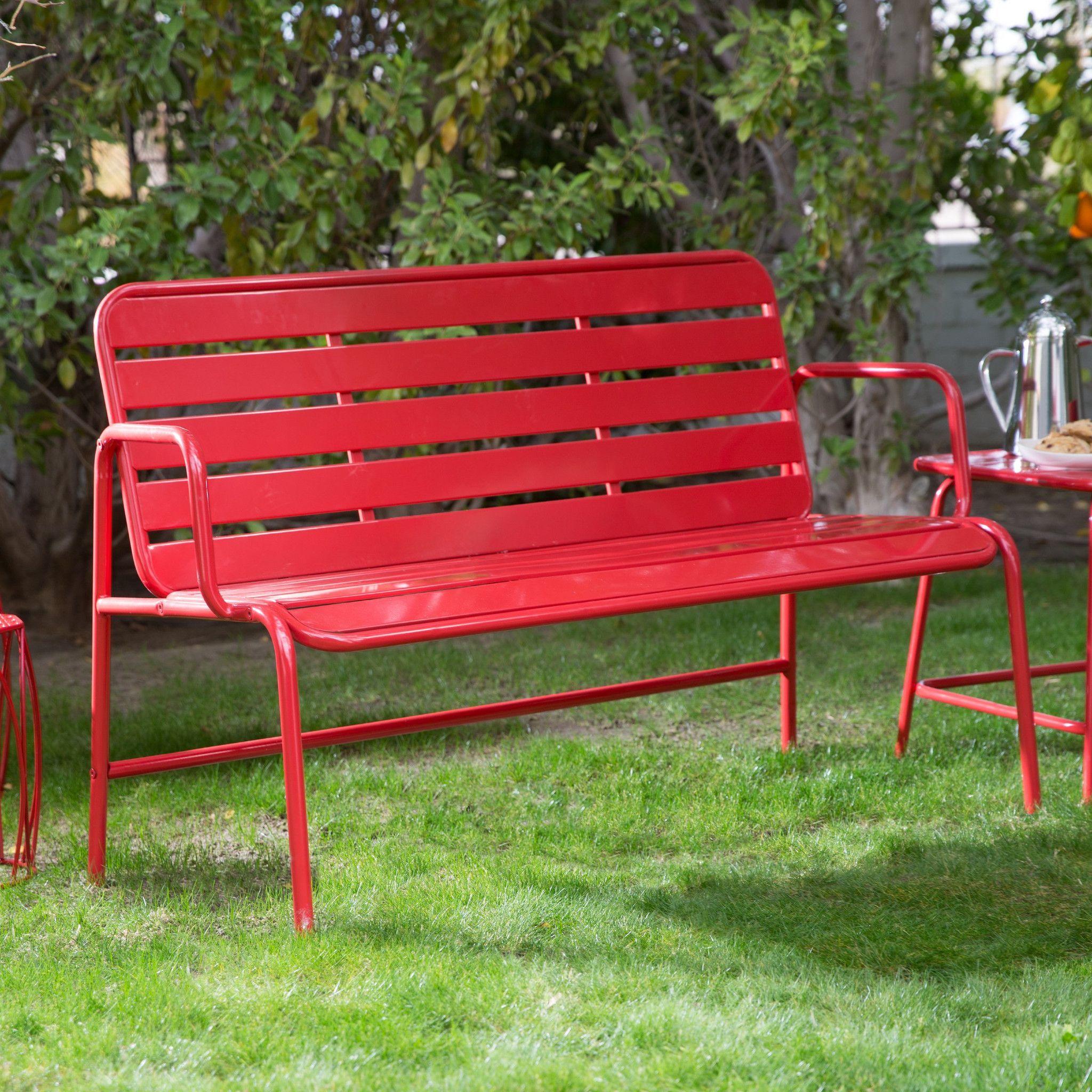 Red Metal Slat Outdoor Patio Garden Bench Products