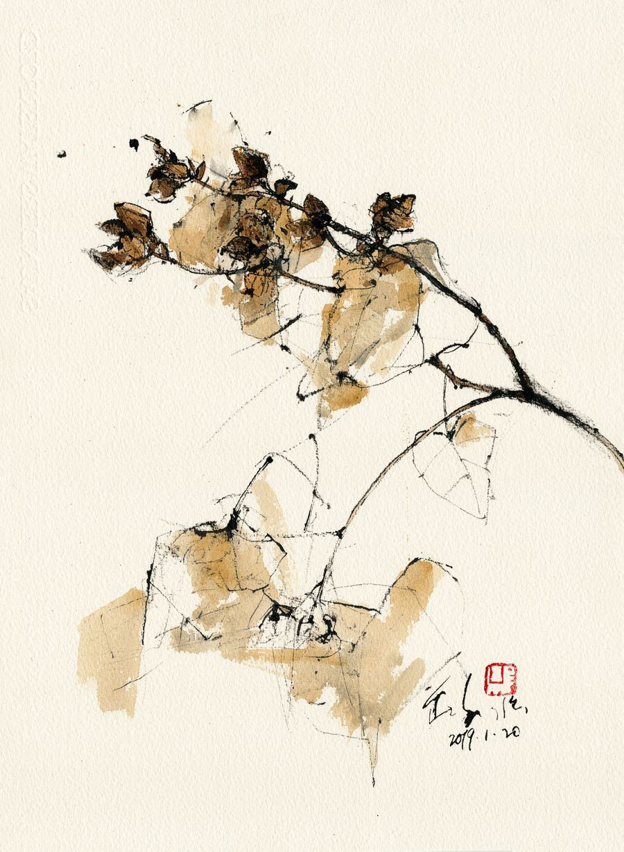 20190120 Dried Tree Tanjung Bungah With Images Ink Painting