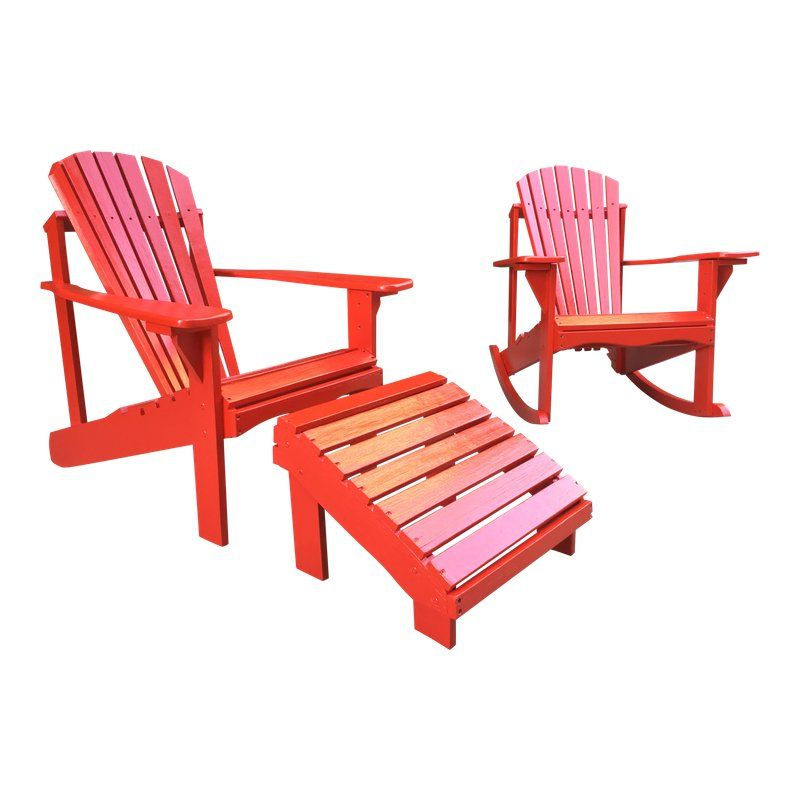 Adirondack Red Lawn Patio / Deck Chairs & Ottoman- 3 Piece Set ...