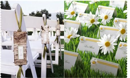 Sample of Wedding Programs hanging along the aisle and sample of namecards