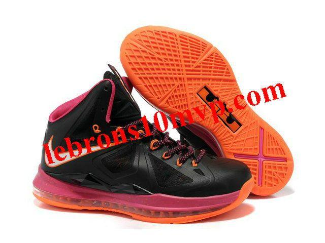 Nike Lebron James 10 Shoes Black Pink Orange