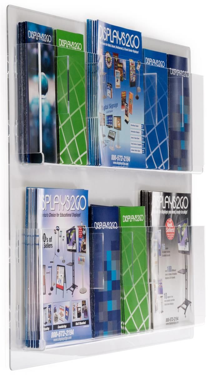 2 Tiered Acrylic Literature Wall Rack 4 8 5 W 6 12 Adjustable Pockets Clear Brochure Display Brochure Holders Wall Racks