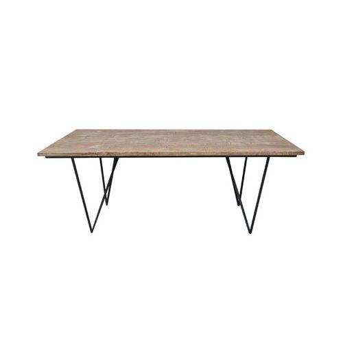 Table rectangulaire bois naturel pieds fer 200x90x75cm - pas cher