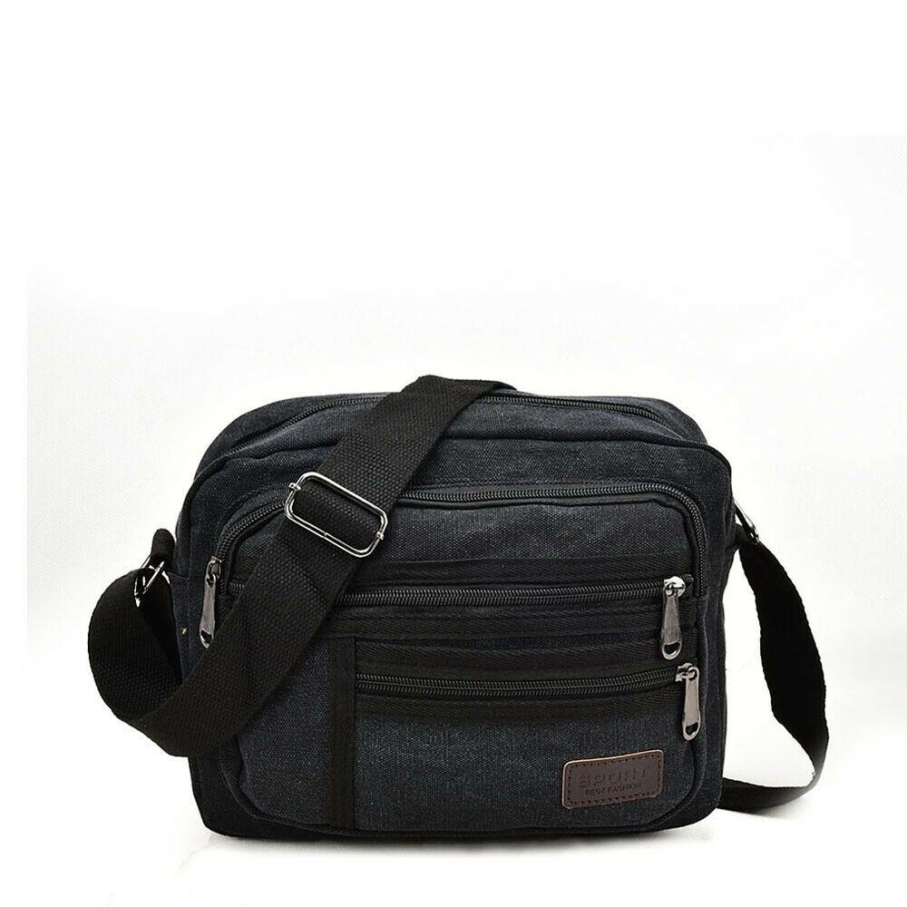 Men Boys Black Canvas Cross Body Bag Shoulder Messenger