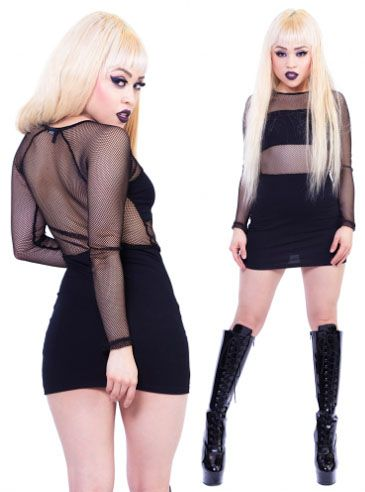 Freshest Fishnet Dress with Blackout Panels by Lip Service