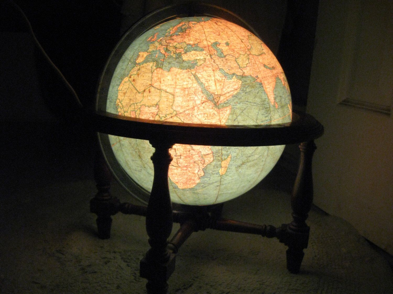 Vintage metal library globe 10 with wood stand electric globe vintage metal library globe 10 with wood stand electric globe replogle globes inc chicago usa world map gumiabroncs Image collections