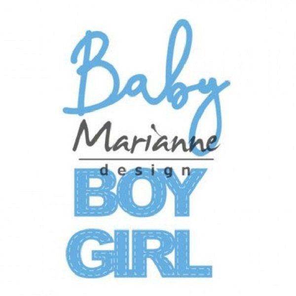 Matrice de découpe Baby text boy & girl de Marianne Design, découpe bébé, découpe mot, carte naissance , bébé // Scrapbooking