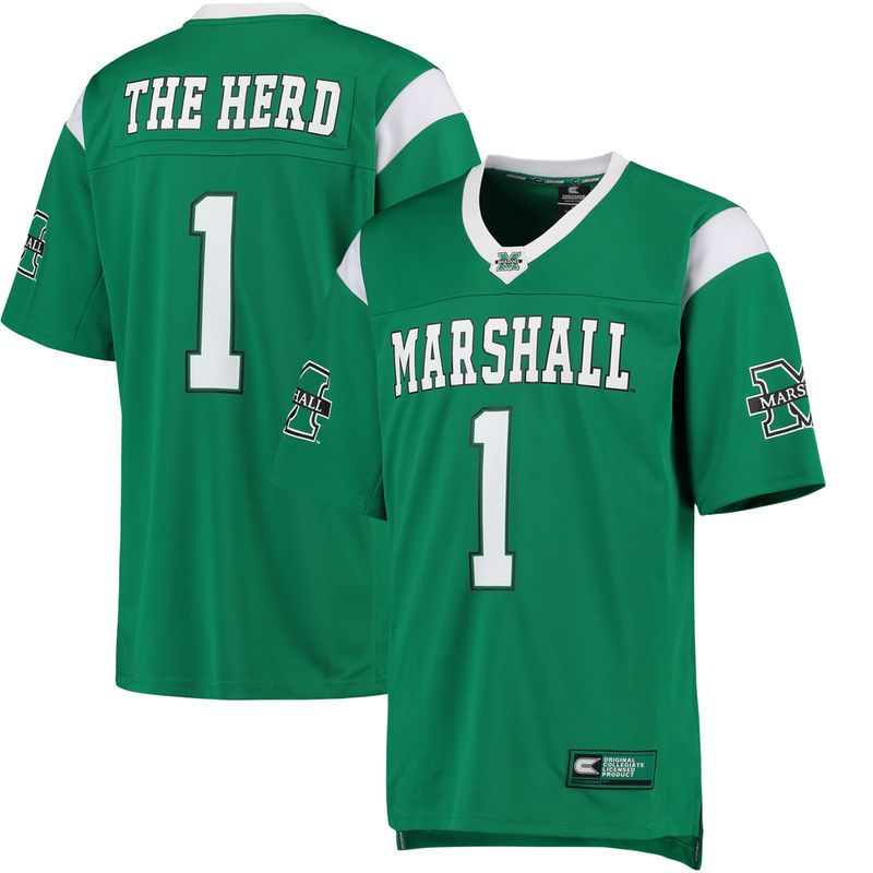 #1 Marshall Thundering Herd Colosseum Hail Mary Football Jersey - Green