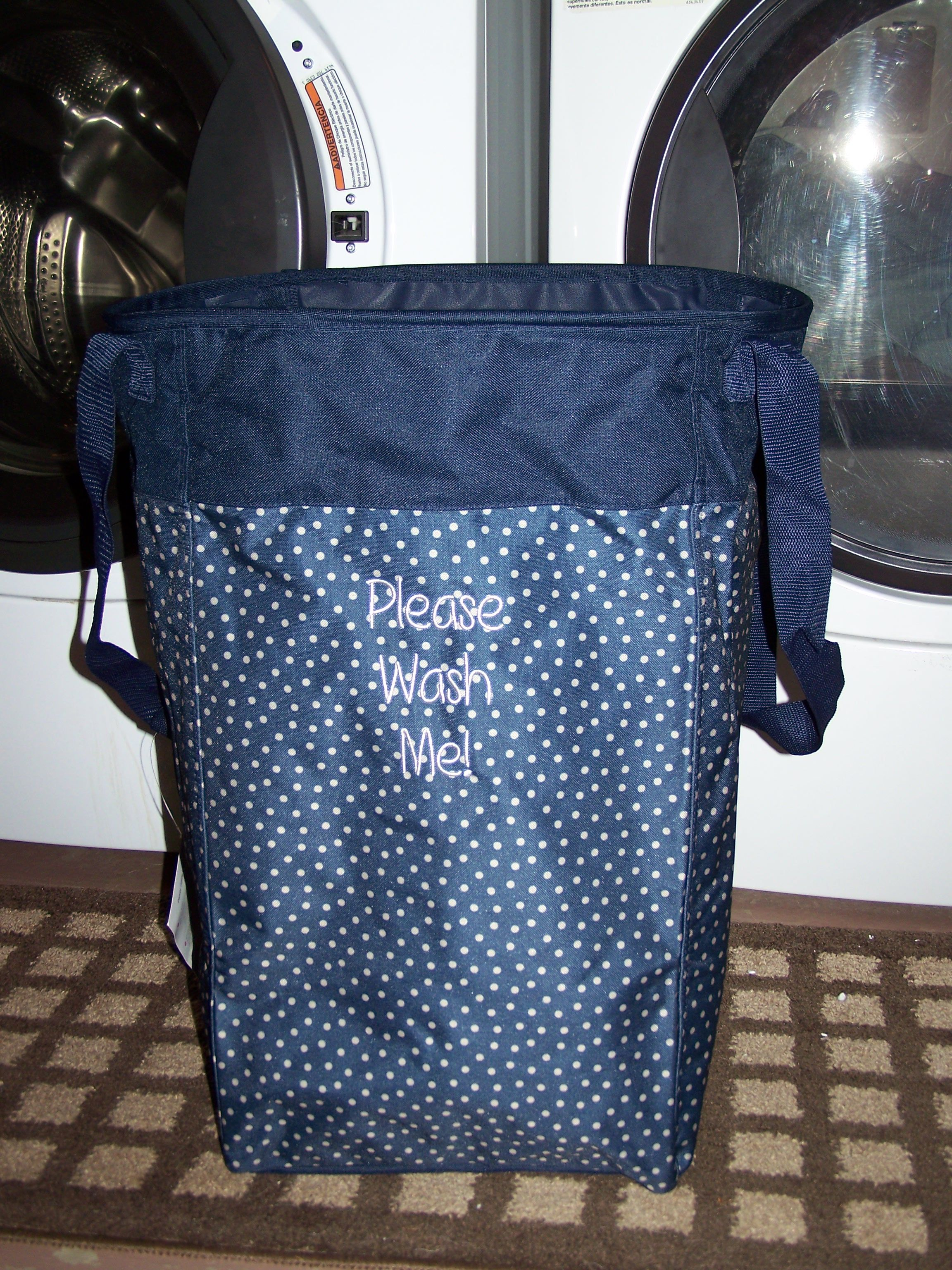 Stand Tall Bin, Navy Dancing Dot. Please Wash Me! | Thirty-one ...