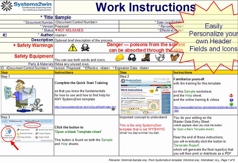 Standardized Work Instructions Templates Best Of Work Instruction Template Workbook Template Instruction Templates