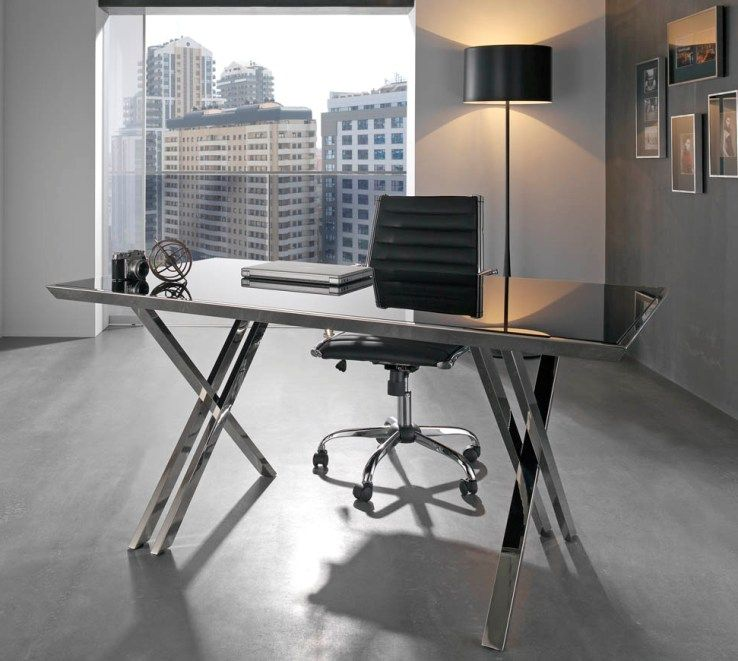 Glass and Chrome Contemporary Office Desk with Optional Chair