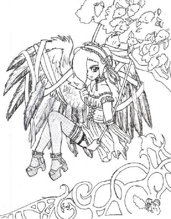 manga fairy coloring pages - goth anime coloring pages art print outs pinterest
