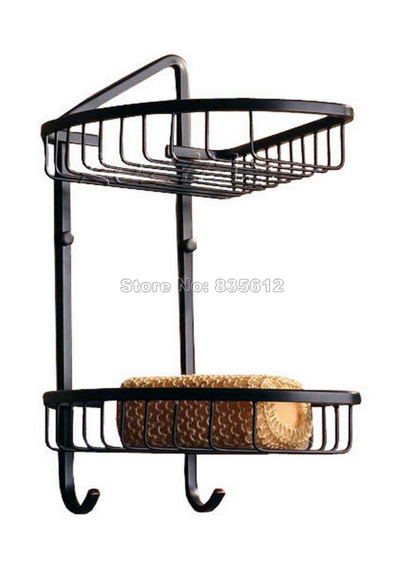 Black Oil Rubbed Bronze 2 Tier Wall Mounted Bathroom Large Corner ...