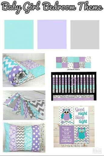 Baby Girl Nursery Bedroom Color Theme Gray Purple Amp Aqua