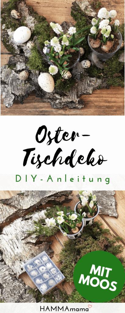 DIY für den Frühling und für Ostern ° Tisch-Dekoration aus der Natur basteln mit Moos, Holz, Eiern und Blumen im Glas