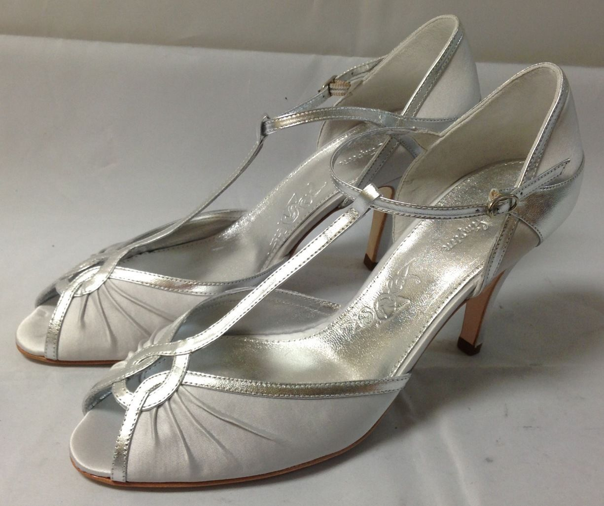 Details About Rachel Simpson Silver Satin Heels Mimi Various