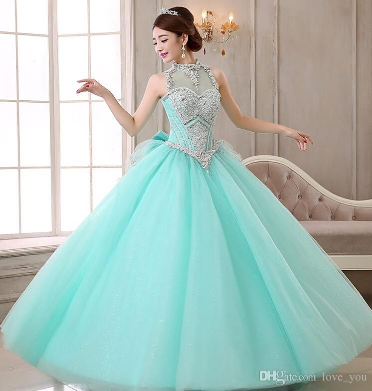 Cheap Custom Made Mint Green Ball Gown Quinceanera Dresses ...