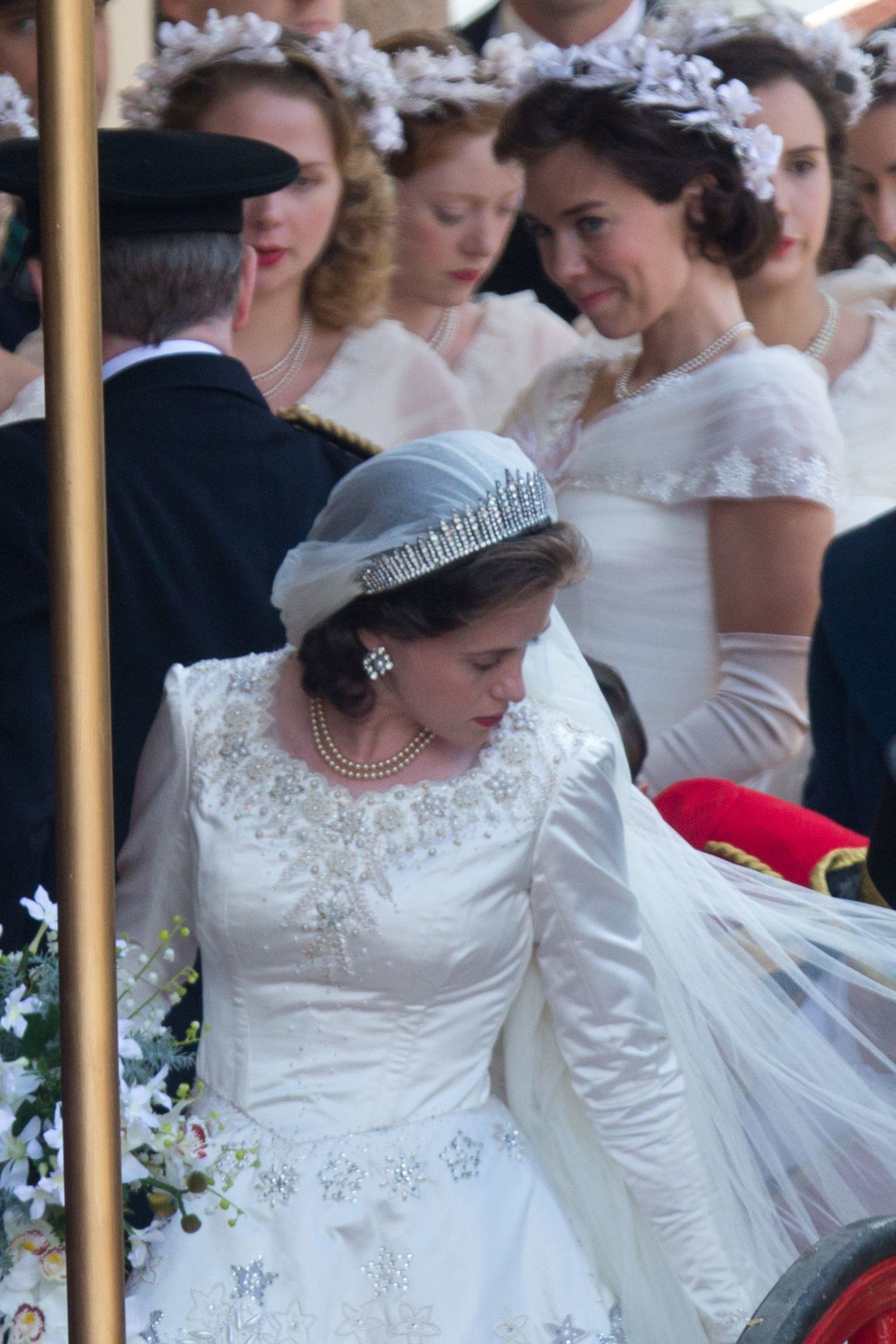 How Queen Elizabeth S Real Life Wedding Compares To The Made For Tv Version The Crown Elizabeth Crown Netflix The Crown Series