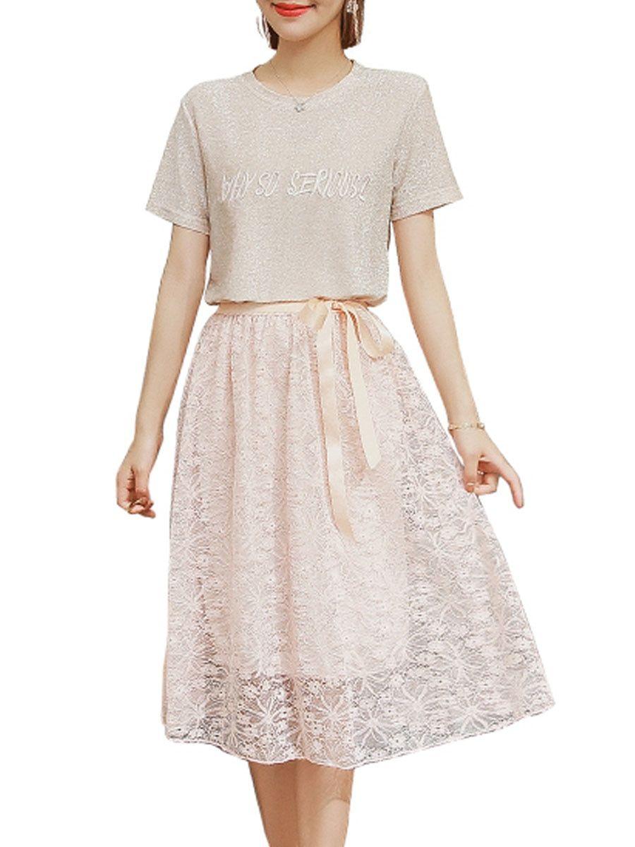 Buy Women s Two Pcs Set Short Sleeve O Neck Lace Bow Skirt Suit   Women s  Two c7192cf9c