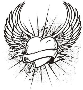 Heart And Wings With Banner Angel Wings Heart Tattoo Heart With Wings Tattoo Heart Drawing