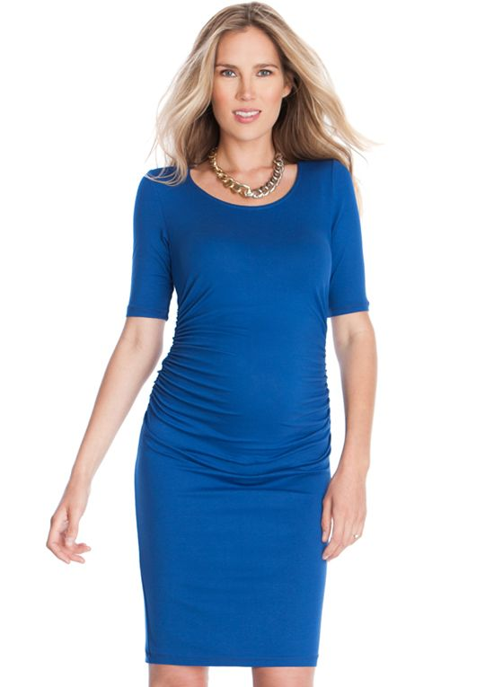 e2dce0eacb8fe Queen Bee Side Ruched Maternity Dress in Blue by Seraphine ...