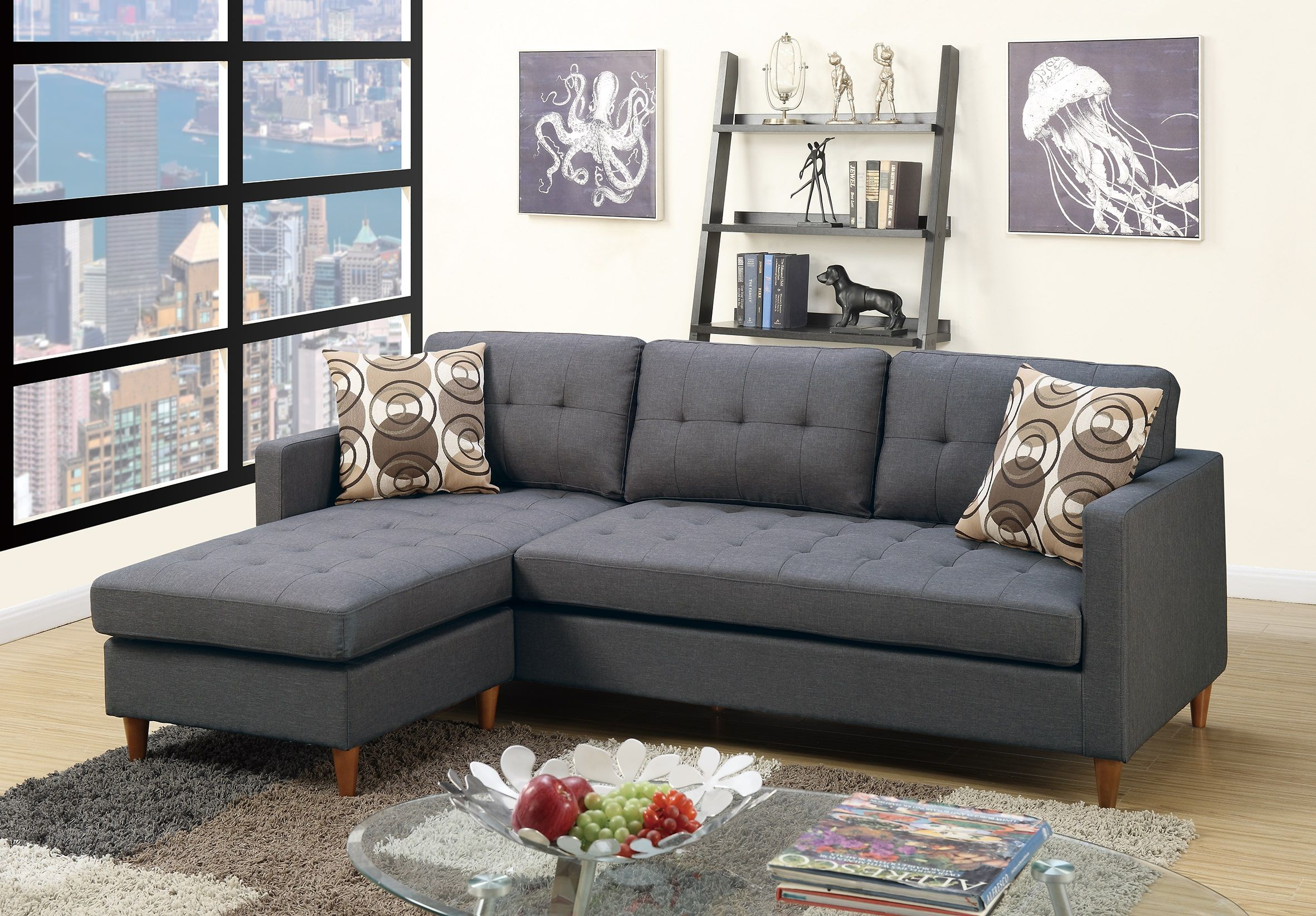 F7094 Blue Gray Sectional Sofa By Poundex Small Sectional Sofa Sectional Sofa Couch Grey Sectional Sofa