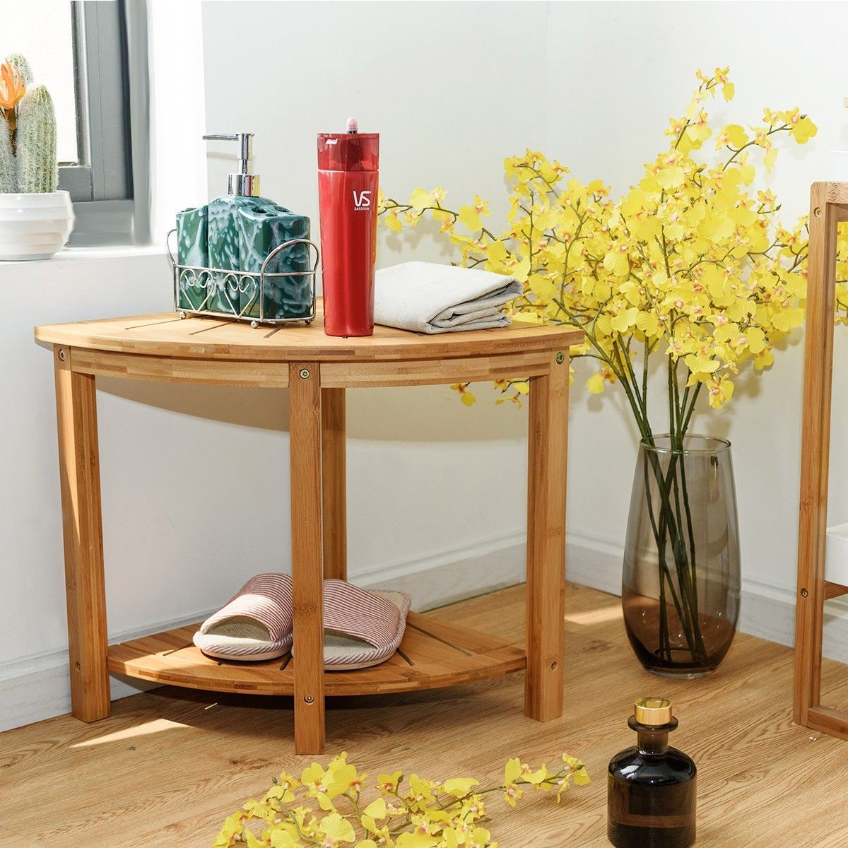 Corner Shower Bench Bamboo Spa Seat With Storage Shelf Health