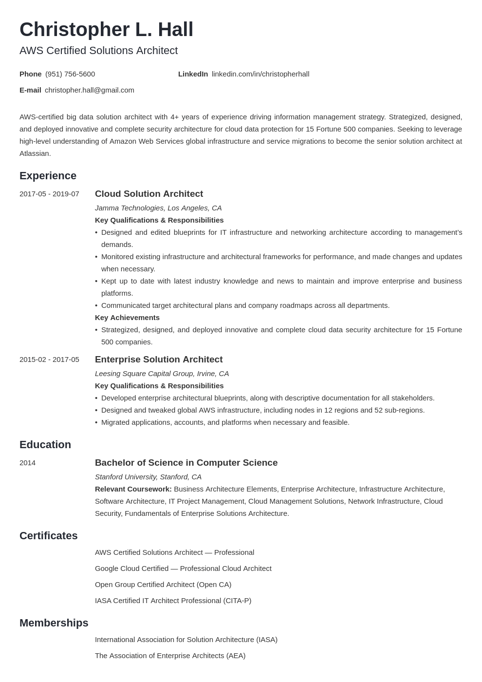 Solution Architect Resume Example Template Minimo Architect Resume Architect Resume Sample Solution Architect