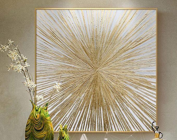 Marine plot, Large Gold Leaf Painting, Abstract Sa