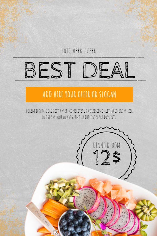 restaurant deal promotion flyer poster social media design template