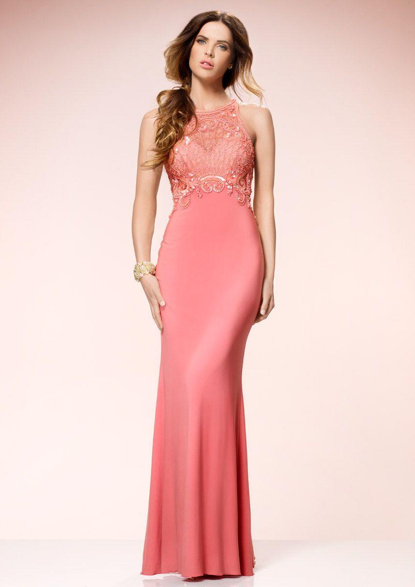 STARLET - Peach Embellished Maxi Dress | ชุดราตรียายาว | Pinterest ...