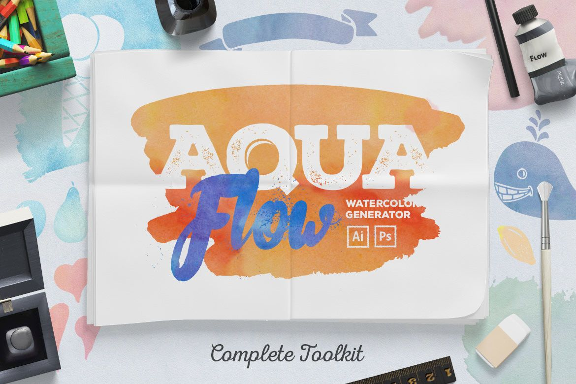 AquaFlow Watercolor Generator By Creative Veila