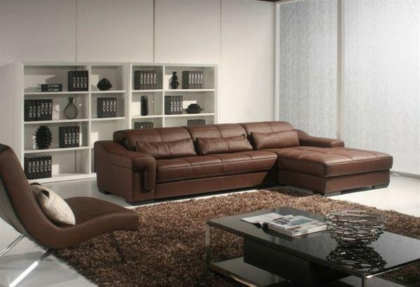 braunes Ledersofa und brauner Teppich Wohnzimmer Pinterest - wohnzimmer braunes sofa