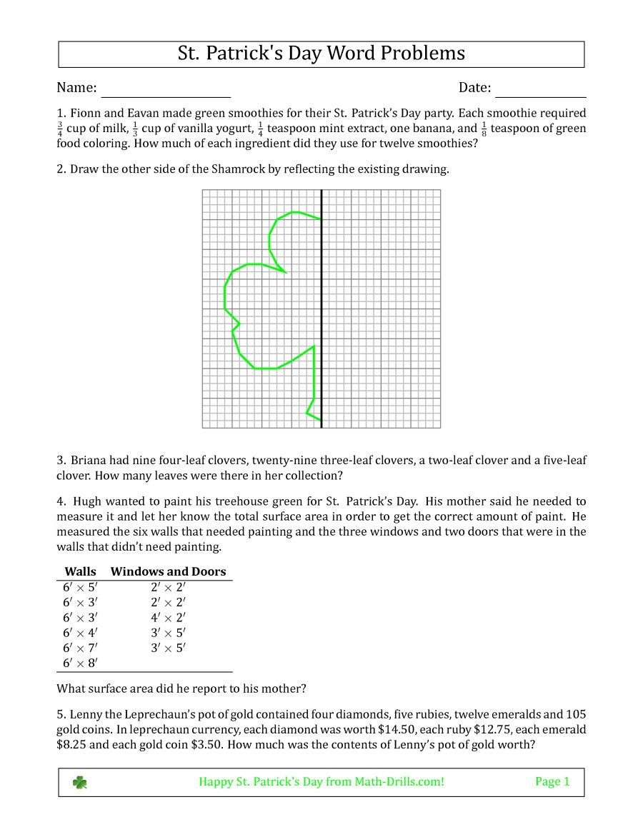 The Saint Patricks Day Math Word Problems Multi Step Middle