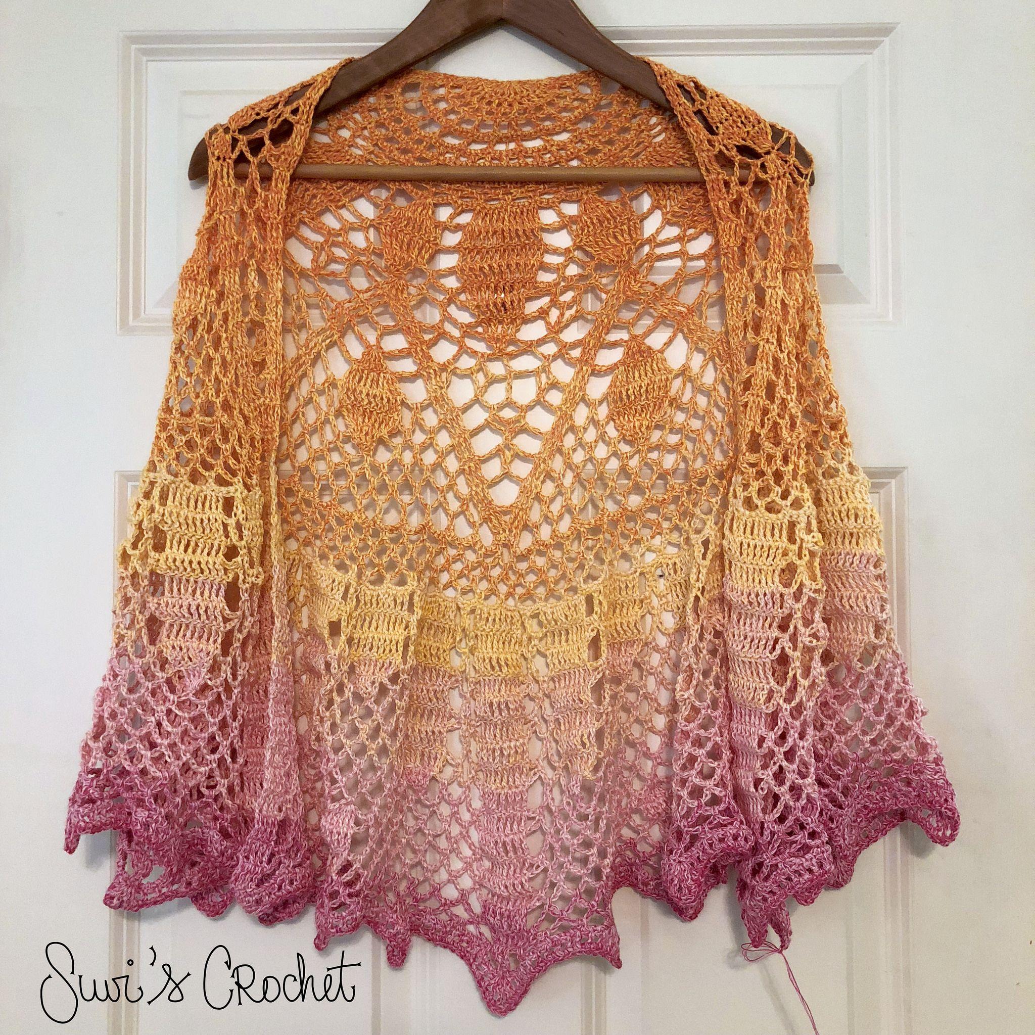 Art Deco Sunburst Shawl Crochet Fashion Free Crochet Pattern Knit Patterns