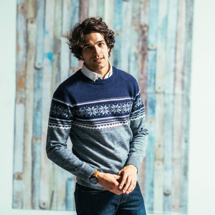 Luxus-Ästhetik jetzt kaufen beste Turnschuhe Grau Hemd Unter Strickpullover Herren Muster Blau Pullover ...