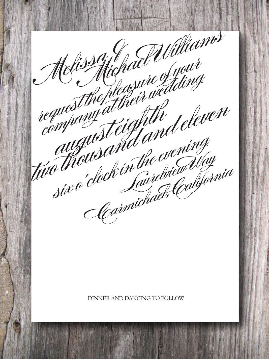 Wedding Invitation - All Script - Digital File, via Etsy. | My Dream ...