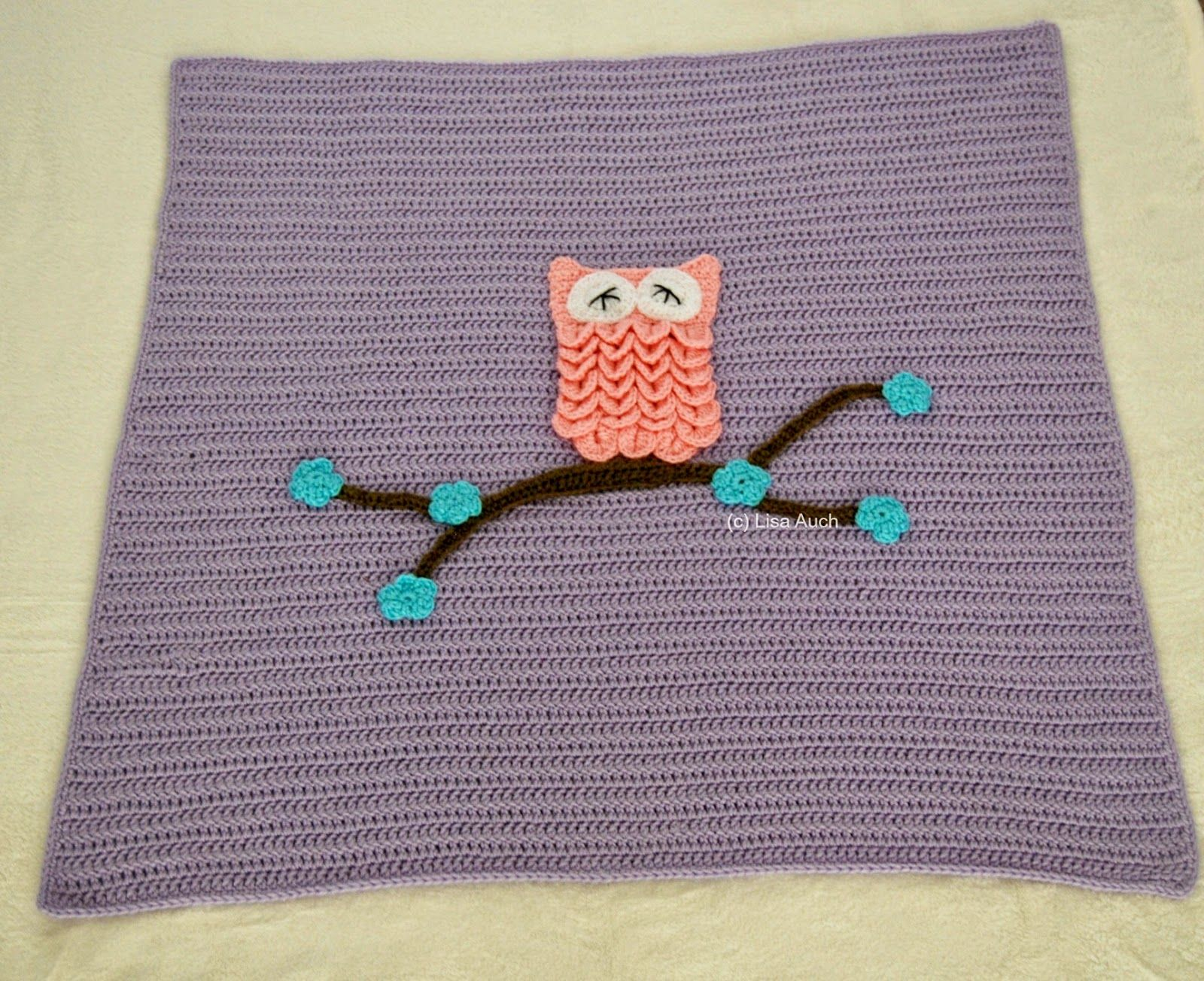 Free Crochet Pattern Easy Baby Blanket (With Optional Owl Applique)