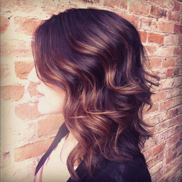 """CUT: Long A-Line """"Inverted"""" Lob. I like the shorter layers in the back that are higher up, so I get good volume."""