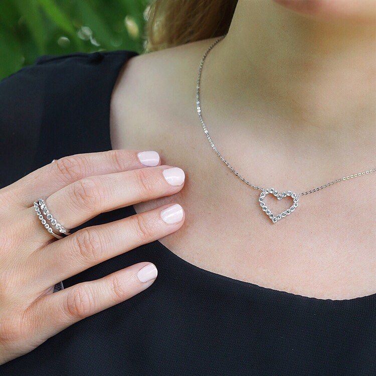 This Unearthed Lab Grown Diamond Pendant Heart Necklace is