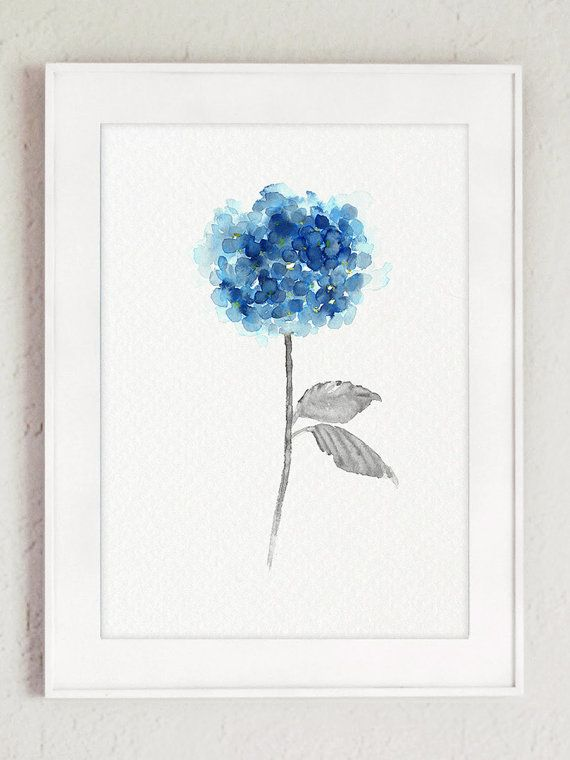 blue hydrangea set of 2 watercolor painting  abstract flowers poster  botanical art print floral