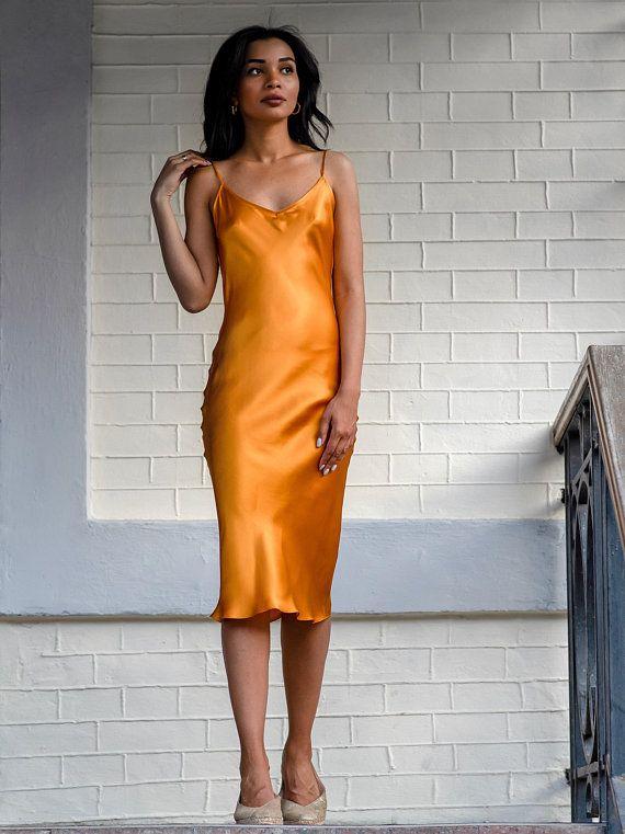 fd12b67f4aa Bias silk slip dress amber Yellow slip dress Pure silk camisole Silk ...