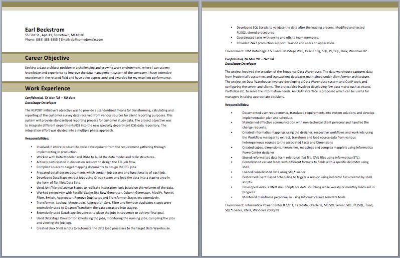 Database Architect Resume Sample Resume Template