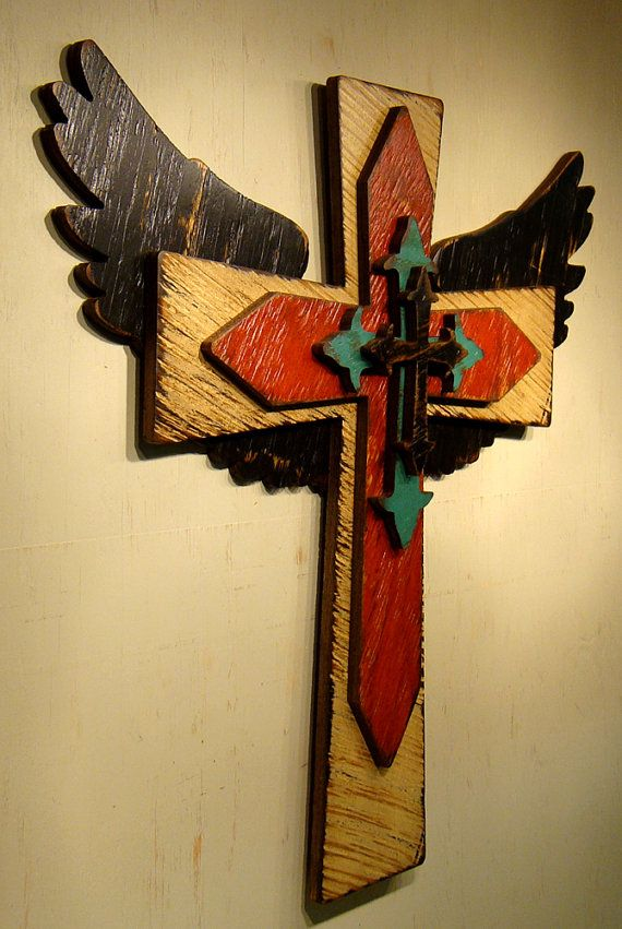 LARGE Rustic Wooden Cross and Angel Wings: Faith Cross, Handmade ...