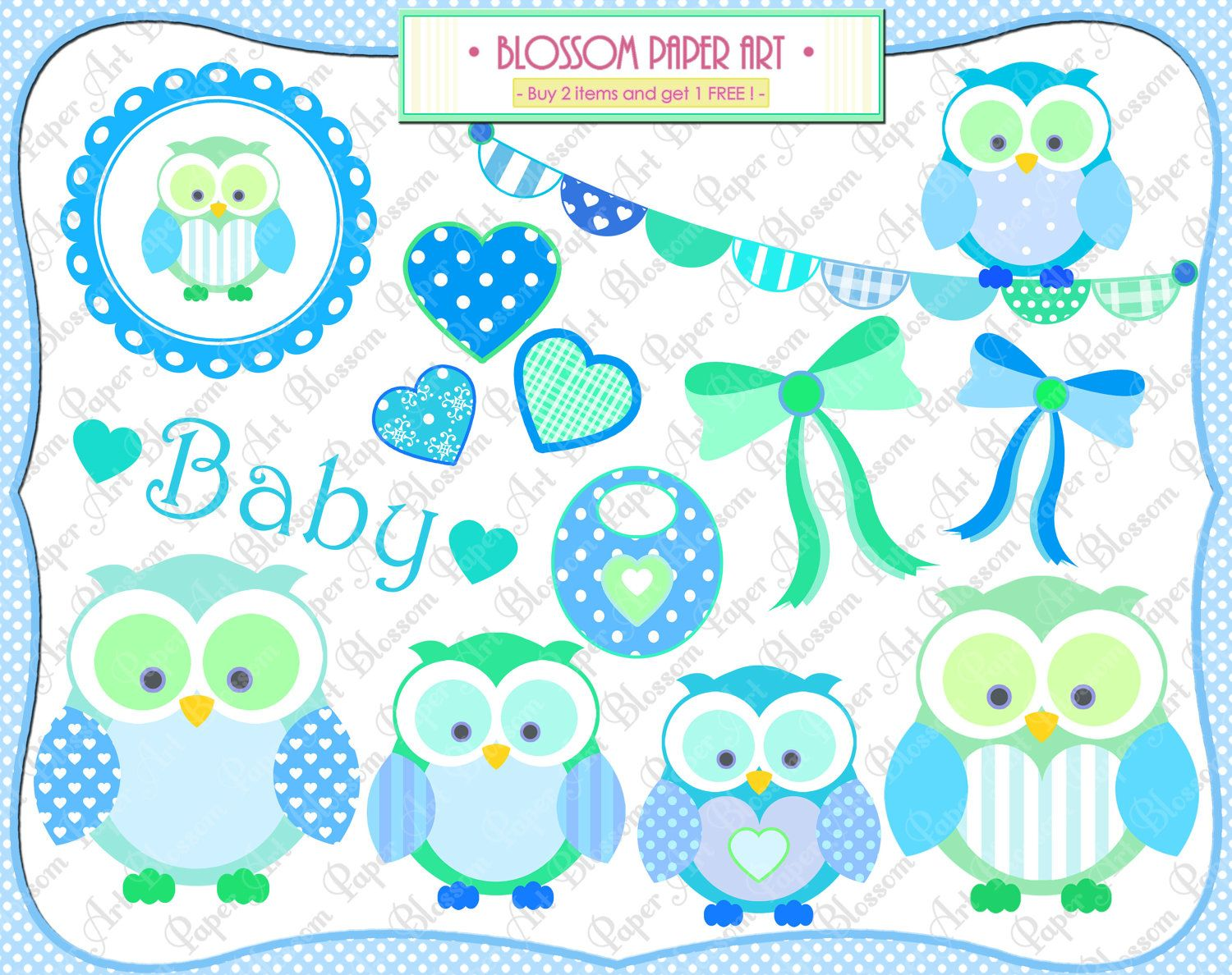 Baby Boy Owls Clipart - Baby Shower - Printables - Personal and ...