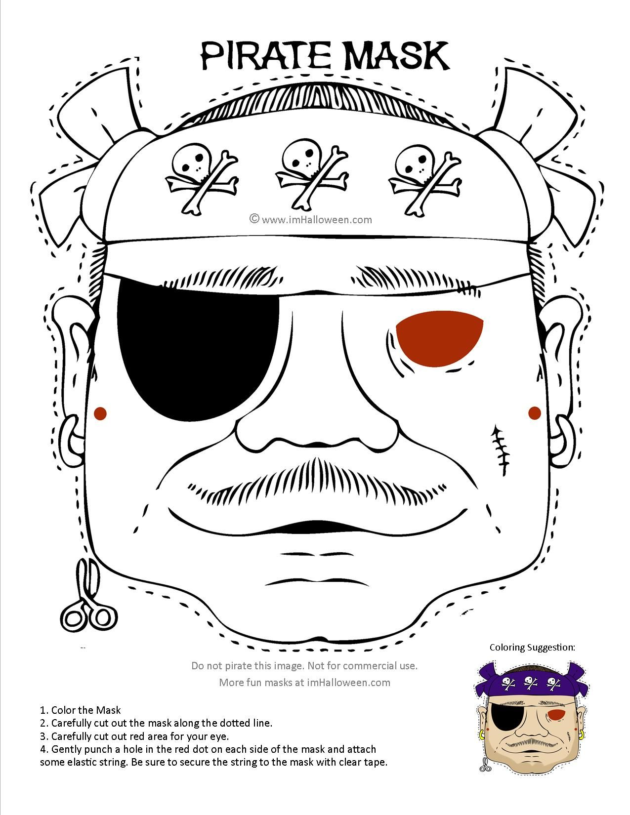 Pirate Mask coloring page printout. More fun at www